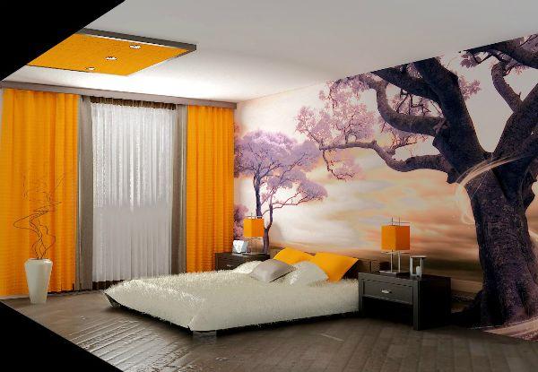 Современные фотообои в  спальне