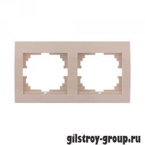 Рамка двойная горизонтальная Lezard Deriy, кремовая (702-0303-147)