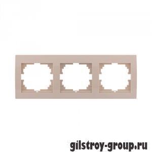 Рамка тройная горизонтальная Lezard Deriy, кремовая (702-0303-148)
