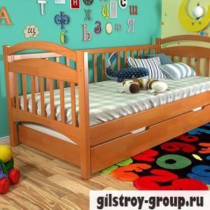 Кровать Arbor Drev Алиса 90х200 см, сосна, 2 ящика (каркас ДСП, фасад-дерево), ольха