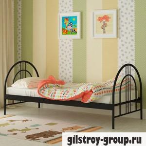 Кровать металлическая Мадера Алиса Люкс, 80х200 см, основа - металлические трубки, черная