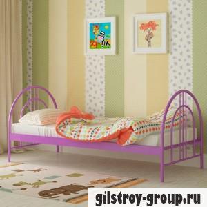 Кровать металлическая Мадера Алиса Люкс, 80х200 см, основа - деревянные ламели, фиолетовая