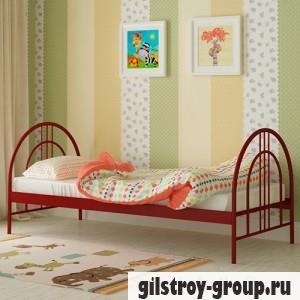 Кровать металлическая Мадера Алиса Люкс, 80х200 см, основа - металлические трубки, красная