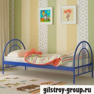 Кровать металлическая Мадера Алиса Люкс, 80х190 см, основа - металлические трубки, синяя