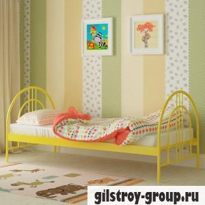 Кровать металлическая Мадера Алиса Люкс, 80х200 см, основа - металлические трубки, желтая