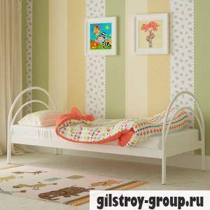 Кровать металлическая Мадера Алиса, 90х200 см, основа - деревянные ламели, белая