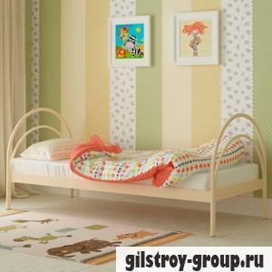 Кровать металлическая Мадера Алиса, 90х200 см, основа - деревянные ламели, бежевая