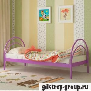 Кровать металлическая Мадера Алиса, 80х200 см, основа - металлические трубки, фиолетовая