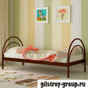 Кровать металлическая Мадера Алиса, 90х200 см, основа - деревянные ламели, коричневая