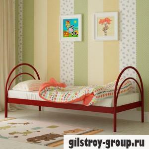 Кровать металлическая Мадера Алиса, 90х200 см, основа - деревянные ламели, красная