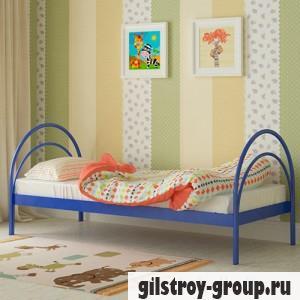 Кровать металлическая Мадера Алиса, 80х190 см, основа - металлические трубки, синяя