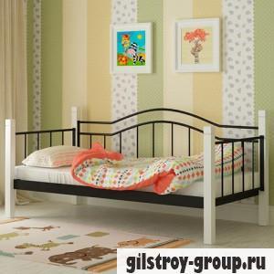 Кровать металлическая Мадера Алонзо, 90х200 см, основа - деревянные ламели, черная