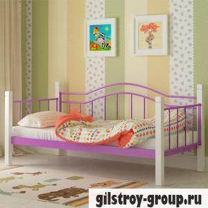 Кровать металлическая Мадера Алонзо, 80х200 см, основа - металлические трубки, фиолетовая