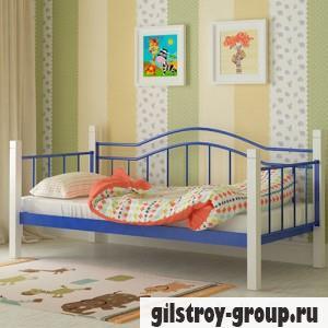 Кровать металлическая Мадера Алонзо, 80х190 см, основа - металлические трубки, синяя