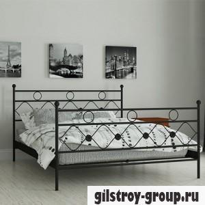 Кровать металлическая Мадера Бриана, 140х200 см, основа - деревянные ламели, черная