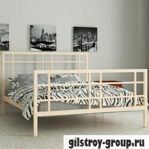 Кровать металлическая Мадера Дейзи, 160х190 см, основа - металлические трубки, бежевая