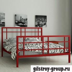 Кровать металлическая Мадера Дейзи, 140х190 см, основа - деревянные ламели, красная