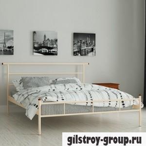 Кровать металлическая Мадера Диаз, 90х190 см, основа - металлические трубки, бежевая