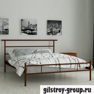 Кровать металлическая Мадера Диаз, 160х190 см, основа - деревянные ламели, коричневая