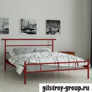Кровать металлическая Мадера Диаз, 80х190 см, основа - деревянные ламели, красная
