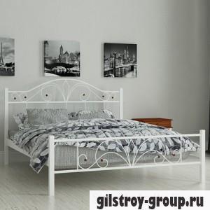 Кровать металлическая Мадера Элиз, 80х190 см, основа - деревянные ламели, белая