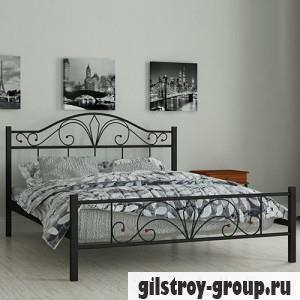 Кровать металлическая Мадера Элиз, 140х200 см, основа - деревянные ламели, черная