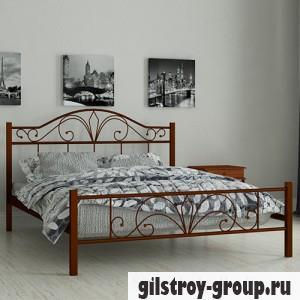 Кровать металлическая Мадера Элиз, 80х190 см, основа - деревянные ламели, коричневая