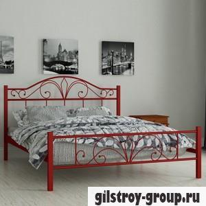 Кровать металлическая Мадера Элиз, 80х190 см, основа - деревянные ламели, красная