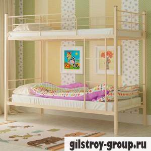 Кровать металлическая Мадера Эмма, 90х200 см, основа - деревянные ламели, бежевая