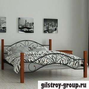 Кровать металлическая Мадера Фелисити, 160х200 см, основа - деревянные ламели, черная
