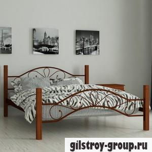 Кровать металлическая Мадера Фелисити, 160х200 см, основа - деревянные ламели, коричневая