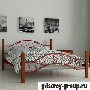 Кровать металлическая Мадера Фелисити, 160х200 см, основа - деревянные ламели, красная