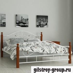 Кровать металлическая Мадера Гледис, 140х190 см, основа - металлические трубки, белая