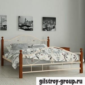 Кровать металлическая Мадера Гледис, 140х200 см, основа - металлические трубки, бежевая