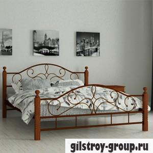 Кровать металлическая Мадера Гледис, 120х190 см, основа - металлические трубки, коричневая