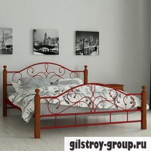 Кровать металлическая Мадера Гледис, 120х190 см, основа - металлические трубки, красная