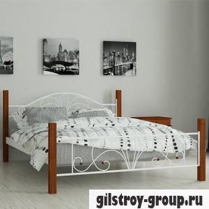 Кровать металлическая Мадера Изабелла, 140х190 см, основа - металлические трубки, белая