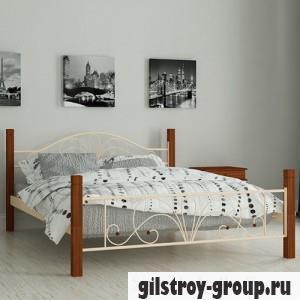 Кровать металлическая Мадера Изабелла, 140х200 см, основа - деревянные ламели, бежевая