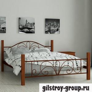 Кровать металлическая Мадера Изабелла, 140х200 см, основа - деревянные ламели, коричневая