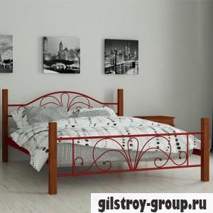 Кровать металлическая Мадера Изабелла, 120х190 см, основа - металлические трубки, красная