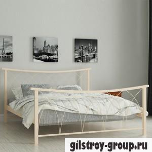 Кровать металлическая Мадера Кира, 140х200 см, основа - деревянные ламели, бежевая