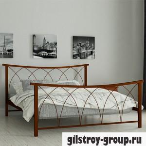 Кровать металлическая Мадера Кира, 140х200 см, основа - деревянные ламели, коричневая