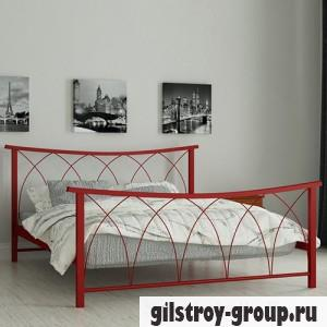 Кровать металлическая Мадера Кира, 140х200 см, основа - деревянные ламели, красная