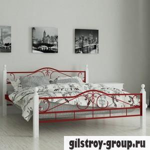 """Кровать металлическая Мадера """"Мадера"""", 120х190 см, основа - металлические трубки, красная"""