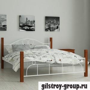 Кровать металлическая Мадера Принцесса, 140х190 см, основа - металические трубки, белая
