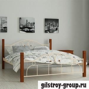 Кровать металлическая Мадера Принцесса, 140х200 см, основа - металические трубки, бежевая