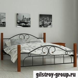 Кровать металлическая Мадера Принцесса, 140х190 см, основа - металические трубки, черная