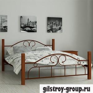 Кровать металлическая Мадера Принцесса, 140х190 см, основа - металические трубки, коричневая