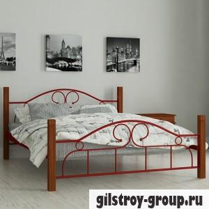 Кровать металлическая Мадера Принцесса, 120х190 см, основа - металические трубки, красная
