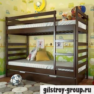 Кровать Arbor Drev Рио, 80х190 см, бук, 2 ящика (каркас ДСП, фасад-дерево), темный орех